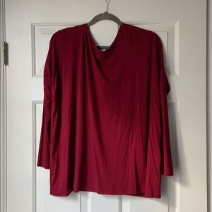 Red Long Sleeve Piko Top